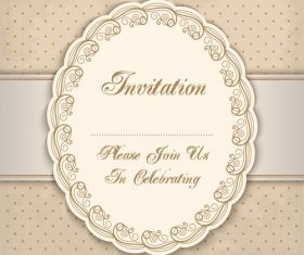 Vintage invitation lacy damask decoration 05