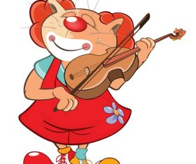 Violin cat cartoon vector