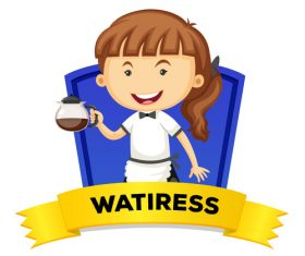 Waitress occupation word card vector