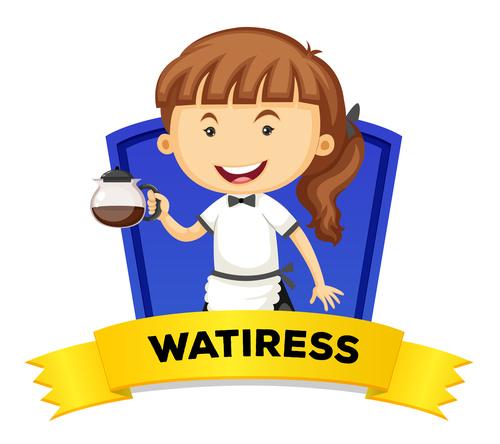 Waitress occupation word card vector