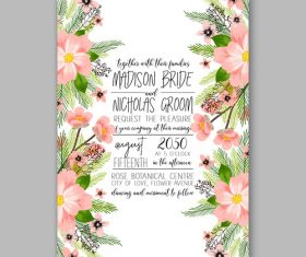 Watercolor floral wedding invitation template vector 01