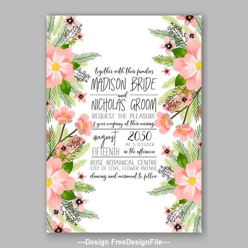 Watercolor floral wedding invitation template vector 01