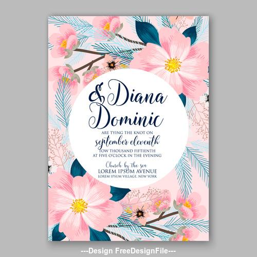 Watercolor floral wedding invitation template vector 02