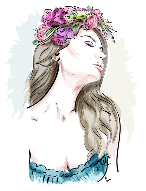Watercolor head wearing wreath woman vector