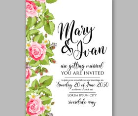 Watercolor rose wedding invitation template vector