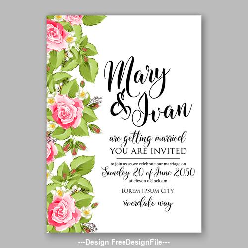 Watercolor rose wedding invitation template vector