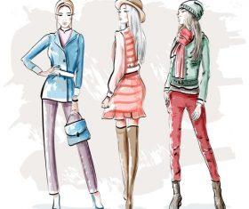 Watercolor three fashion girls vector