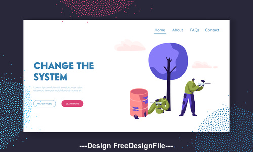 Website page isometric vector illustration change the system