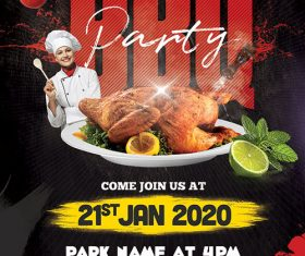 Weekend BBQ party flyer psd template