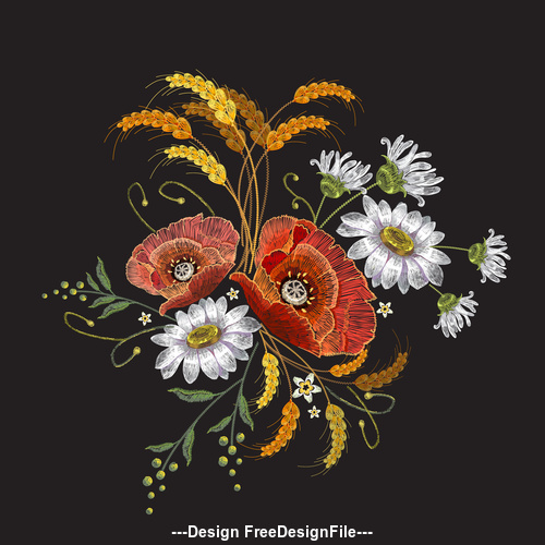 Wheat ears and white and red flower pattern vector