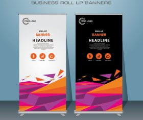 White and black roll banner design vector template