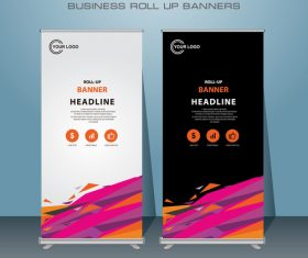 White and black stripes roll banner design vector template