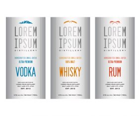 White background Liquor labels vector