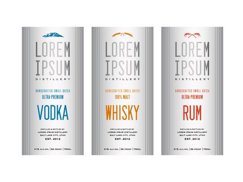 White background Liquor labels vector
