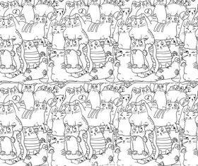 White cat seamless background pattern vector