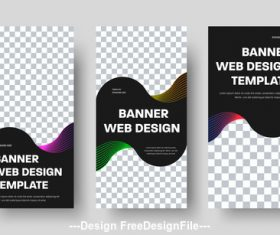 White square black stripes web banners vector