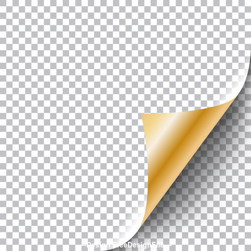 White squared paper yellow curly page corner vector.
