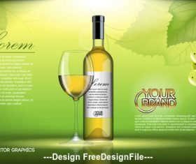 White wine advertising vector
