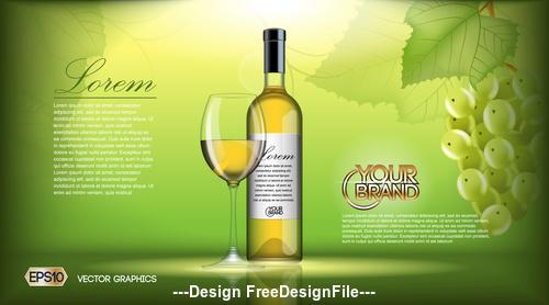 White wine advertising vector