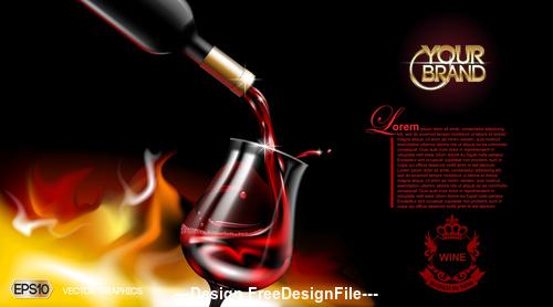 Wine advertisement vector