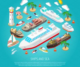 Yacht and large freighter illustration vector