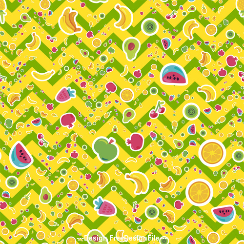 Yellow background and fruit decoration vector