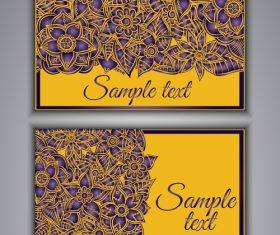 Yellow background floral ornamental card vector