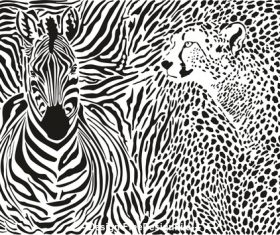 Zebra and cheetah and pattern background vector