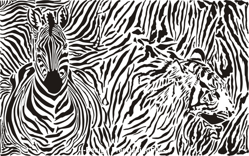 Zebra and leopard Background with skins and head vector