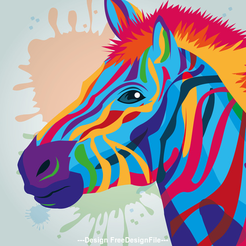 Zebra watercolor illustration vector