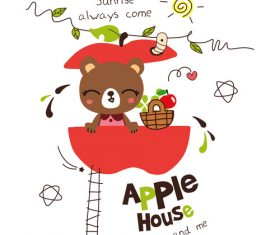apple house red doodle vector