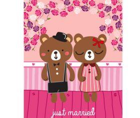 bear just married cartoon doodle vector
