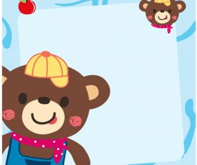 bear with cute background vector