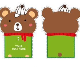 bear with hat card vector