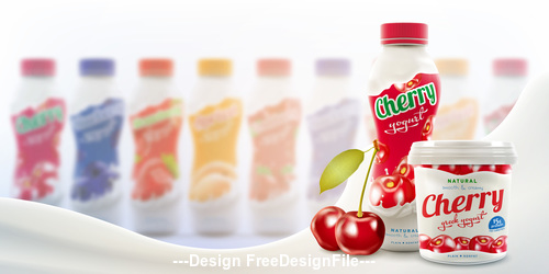 bottle with fruit and berry flavor commercial vector advertising
