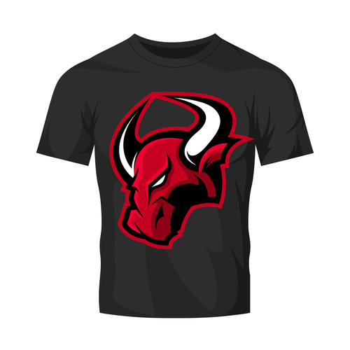 bulls head only t shirt black vector