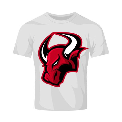 bulls head only t shirt white vector