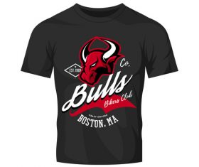 bulls t-shirt black vintage vector