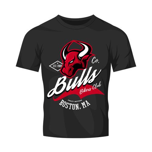 bulls t shirt black vintage vector