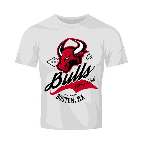 bulls t shirt white vintage vector