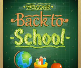 chalk board wooden frame back to school green vector