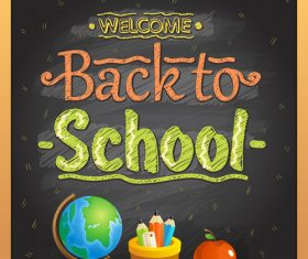 chalk board wooden frame back to school vector