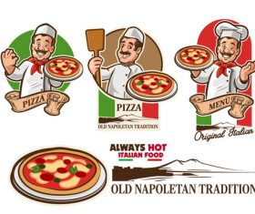 chef pizza italia vector