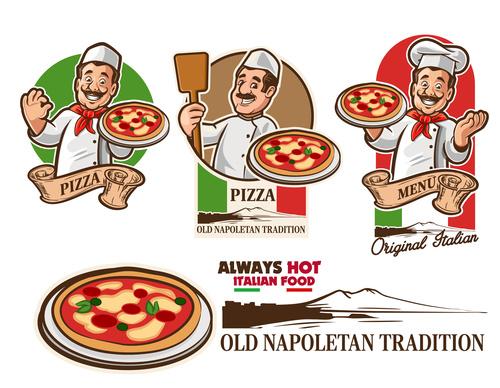 chef pizza italia vector