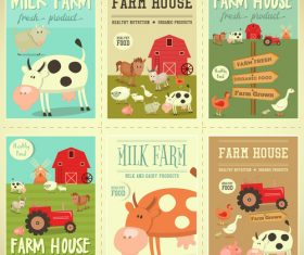 farm posters set vector