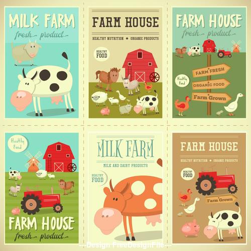 farm posters set vector