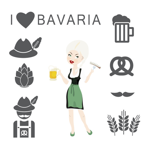 food and beer symbols vector