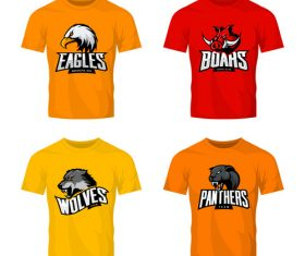 four animals t-shirt color vector