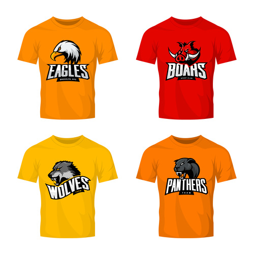 four animals t shirt color vector