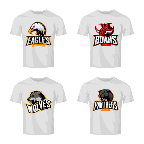 four animals t shirt white vector